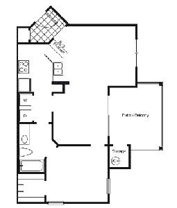 747 sq. ft. A2E floor plan