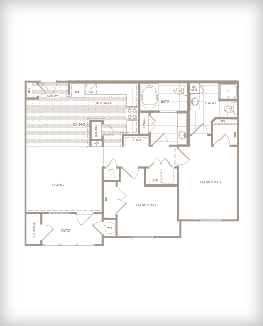 1,078 sq. ft. B2 Haven floor plan