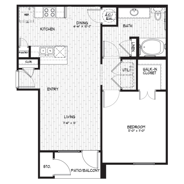 777 sq. ft. A1 floor plan