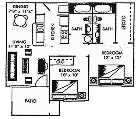 889 sq. ft. C-PH I floor plan