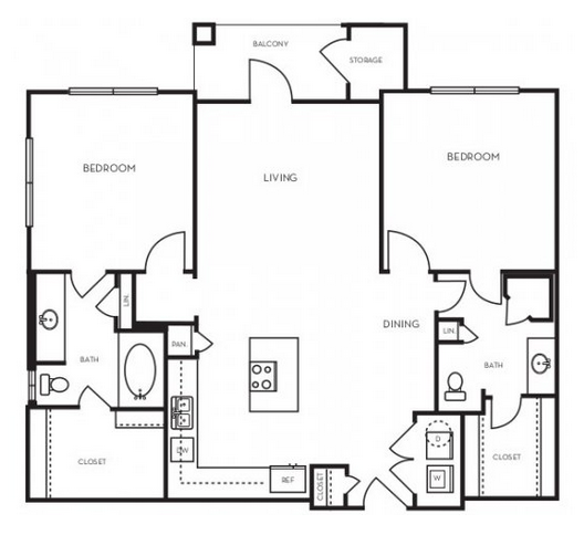 1,066 sq. ft. B1.4 floor plan