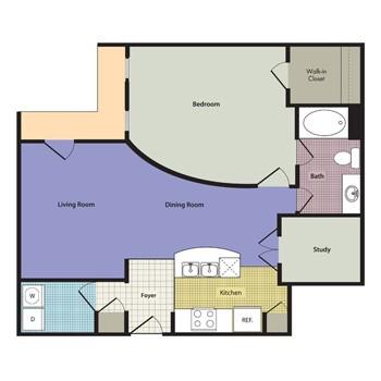 1,076 sq. ft. to 1,160 sq. ft. Venetian floor plan