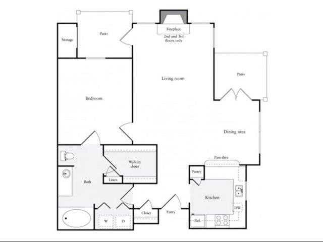 815 sq. ft. B floor plan