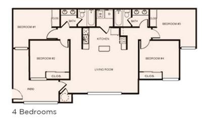 1,185 sq. ft. 4x2 floor plan