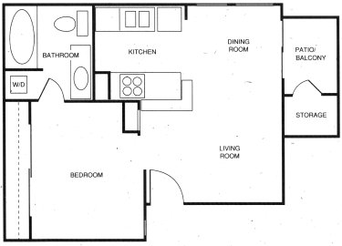 513 sq. ft. B floor plan