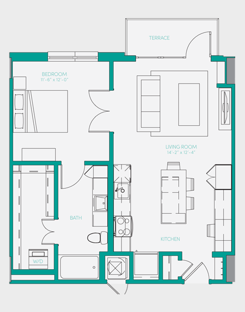 729 sq. ft. A1.6 floor plan
