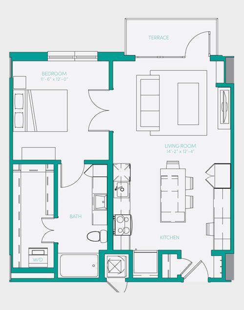 729 sq. ft. A1.6 floor plan