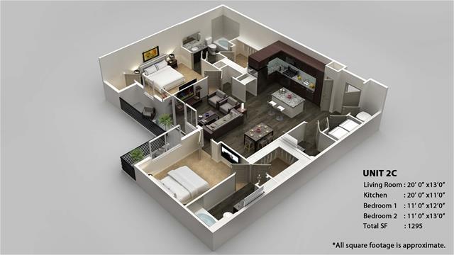 1,295 sq. ft. 2C floor plan