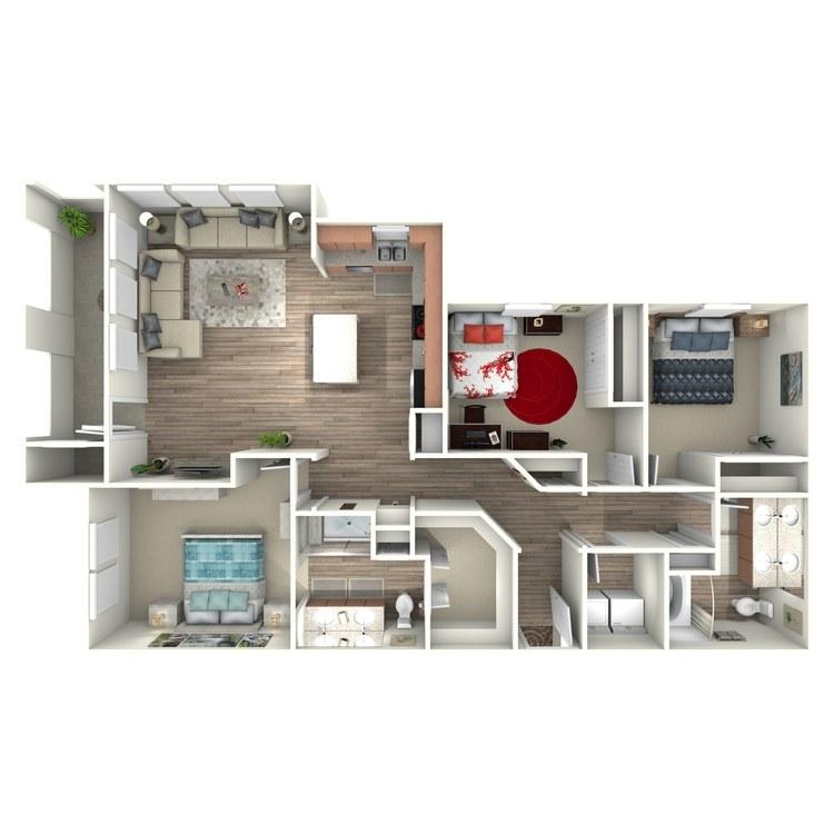 1,363 sq. ft. C1 floor plan