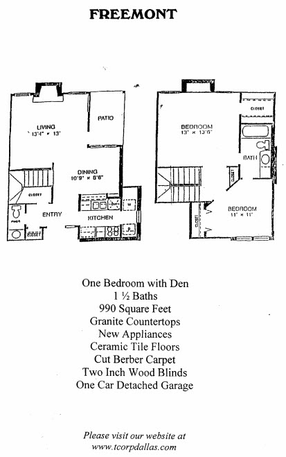 990 sq. ft. Freemont floor plan
