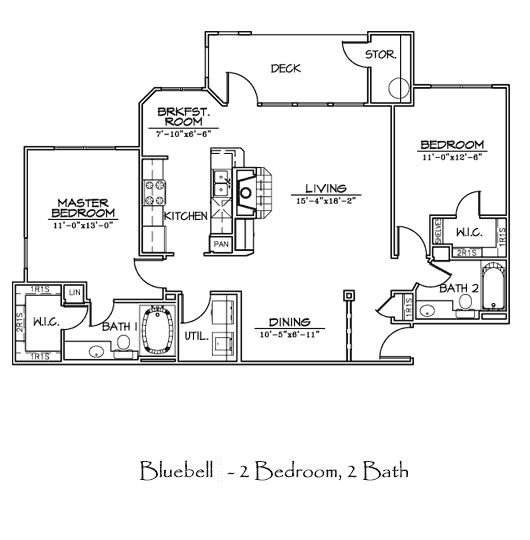 1,212 sq. ft. to 1,223 sq. ft. BLUEBELL floor plan