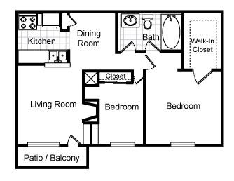 782 sq. ft. Eden floor plan
