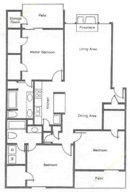 1,392 sq. ft. C1 floor plan