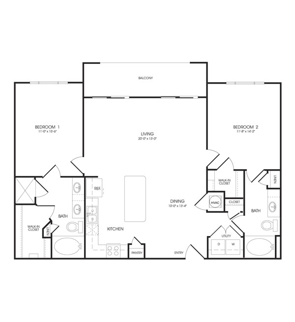 1,161 sq. ft. to 1,193 sq. ft. Trinity floor plan