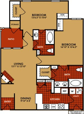1,195 sq. ft. Silverton (B4) floor plan