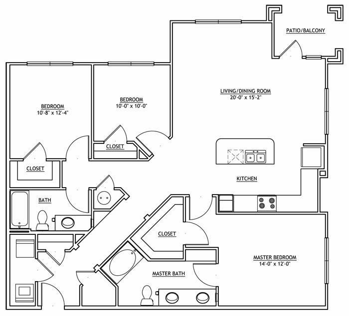1,433 sq. ft. C1 floor plan