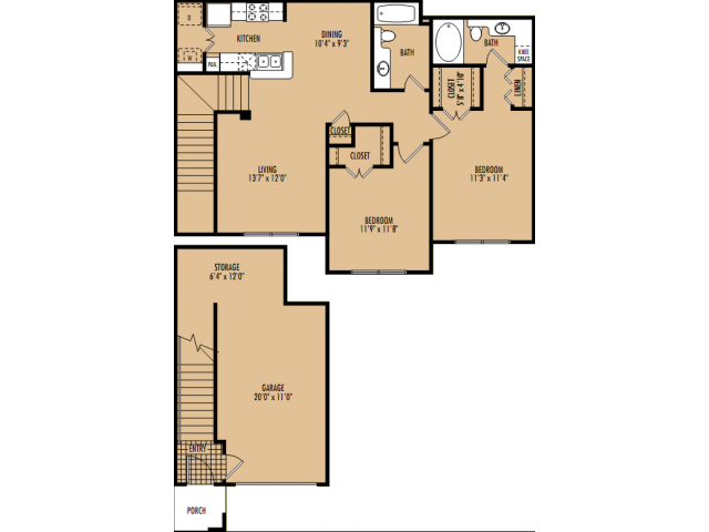 1,160 sq. ft. B4 floor plan