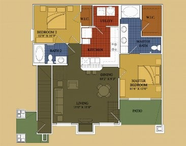 982 sq. ft. Willow floor plan