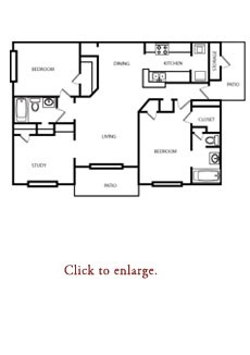 1,268 sq. ft. E floor plan