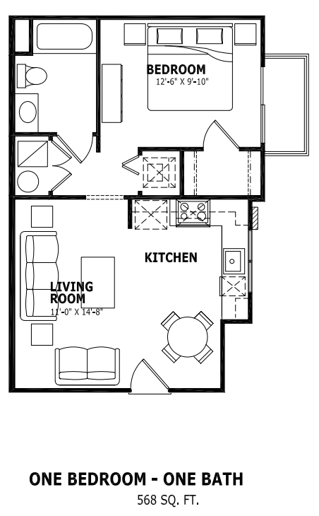 568 sq. ft. floor plan