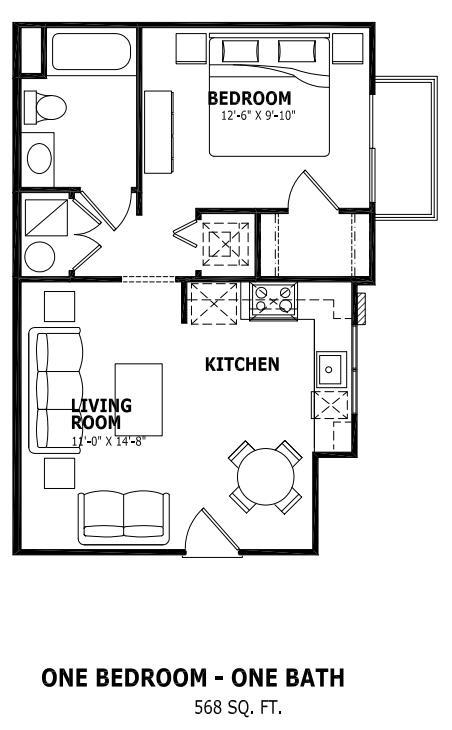 568 sq. ft. floor plan