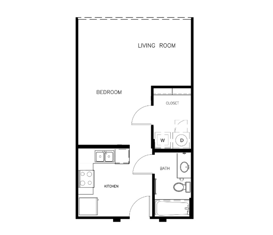 497 sq. ft. to 531 sq. ft. E2A floor plan