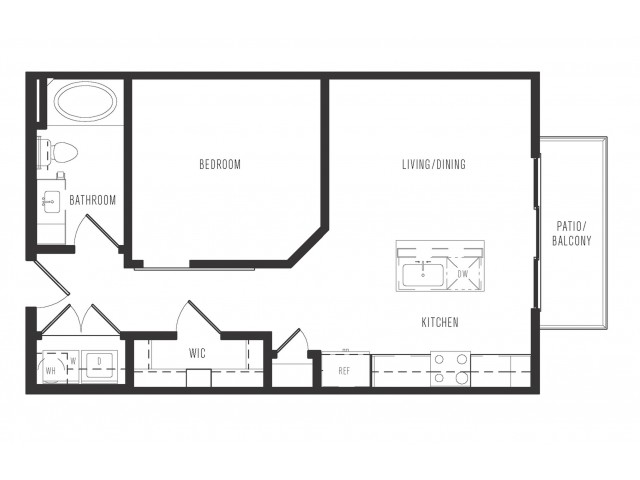 637 sq. ft. E1.1 floor plan