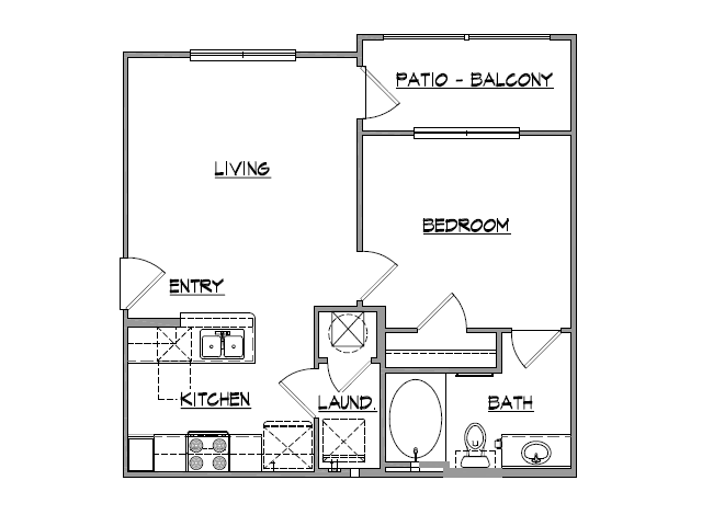647 sq. ft. Princeton floor plan