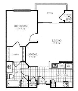 665 sq. ft. PATIO/50% floor plan
