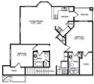 1,458 sq. ft. B2U floor plan
