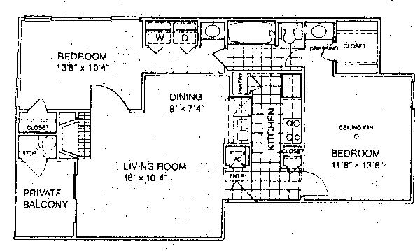 811 sq. ft. D1/60% floor plan