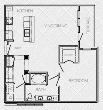 908 sq. ft. to 978 sq. ft. A5 floor plan