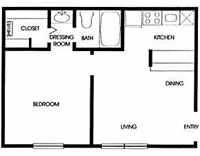 510 sq. ft. A2 floor plan