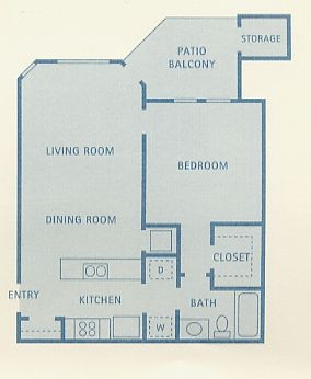 630 sq. ft. Cirus floor plan