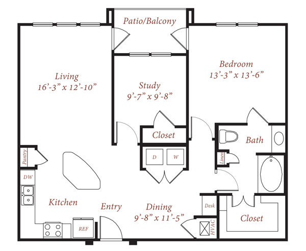 1,034 sq. ft. B1 floor plan