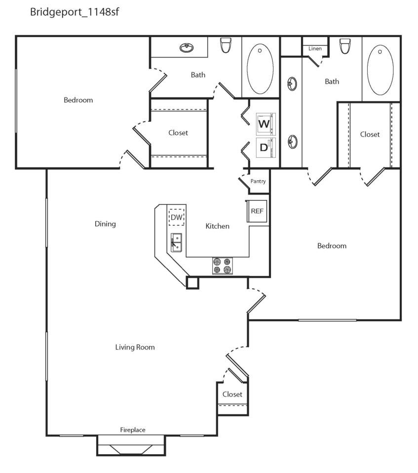 1,148 sq. ft. Bridgeport floor plan