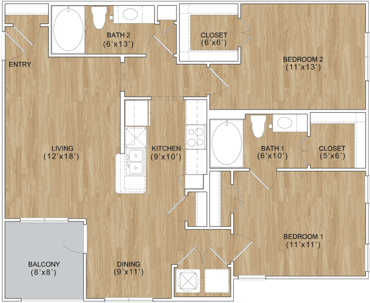 1,072 sq. ft. Reserve floor plan