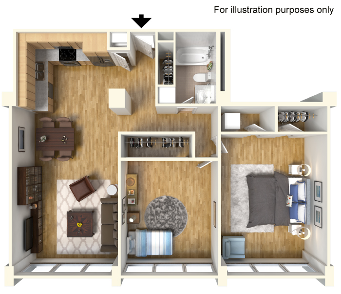 1,075 sq. ft. B1.1 floor plan