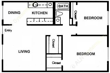 936 sq. ft. Willow floor plan