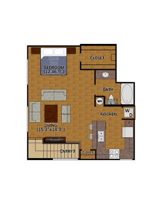 704 sq. ft. E2 floor plan