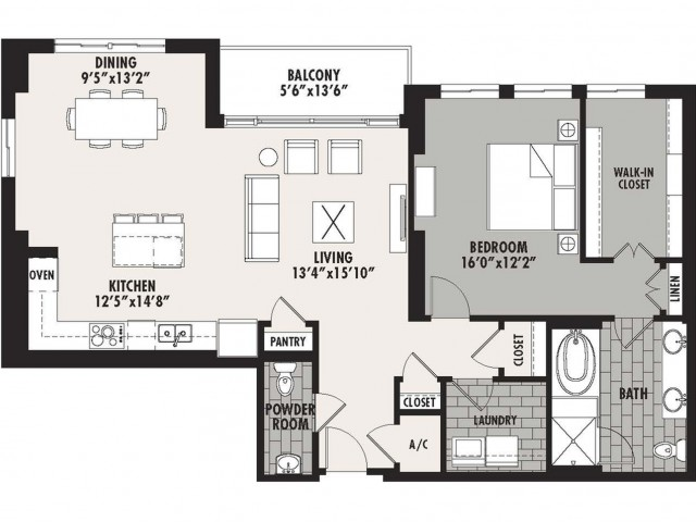 1,306 sq. ft. Preston(A.7) floor plan
