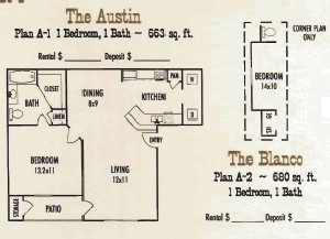 680 sq. ft. Blanco floor plan