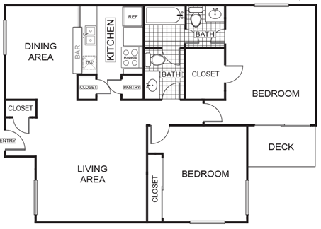 979 sq. ft. Maple B floor plan
