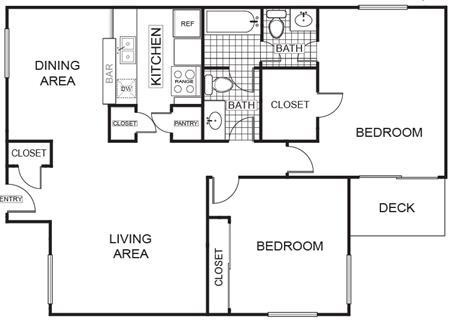 979 sq. ft. Maple B floor plan
