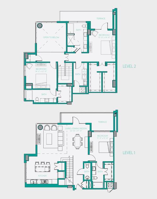 2,313 sq. ft. PH 3 floor plan