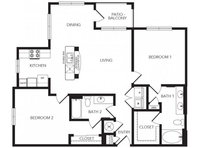 1,165 sq. ft. Parkway floor plan