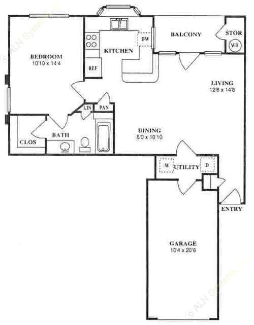 727 sq. ft. A2C floor plan