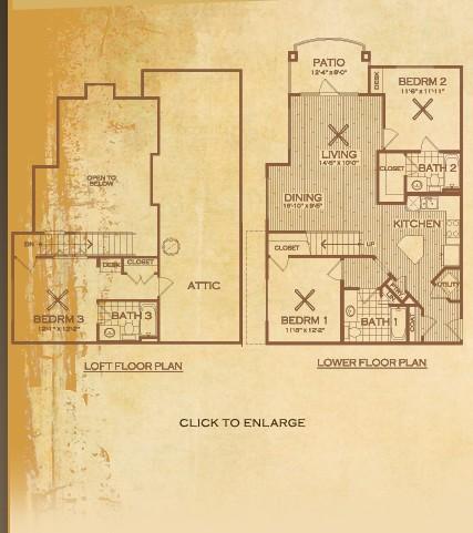 1,354 sq. ft. C1 Canyon floor plan