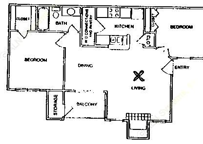 780 sq. ft. B1/60% floor plan