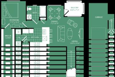 785 sq. ft. Broadmoor floor plan